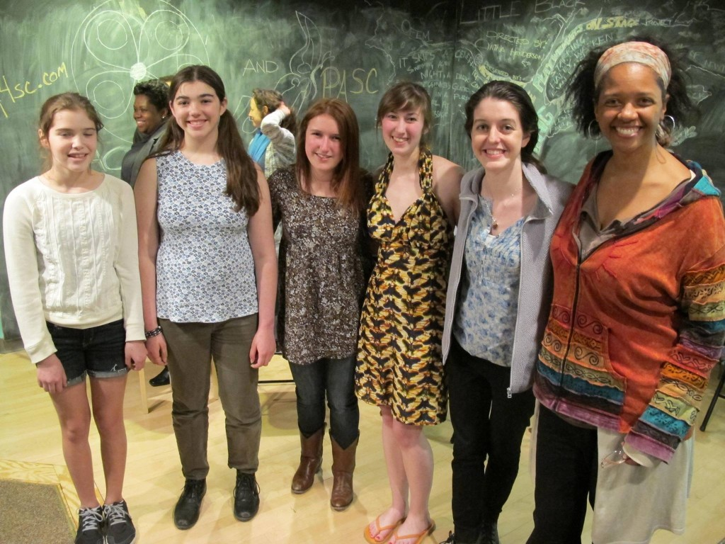 Playwright Marella Martin (second from right) with Director Cynthia Henderson (far right) and the cast of NIGHT BLIND - Acting Out NY, Ithaca - NY